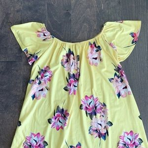ASOS Dresses - ASOS Yellow Floral Off The Shoulder Dress